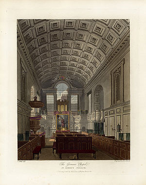 Queen's Chapel - Image: German Chapel, St James's Palace, from Pyne's Royal Residences, 1819 panteek py 107 331