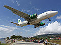 Germania Airbus A319 landing at Skiathos.jpg