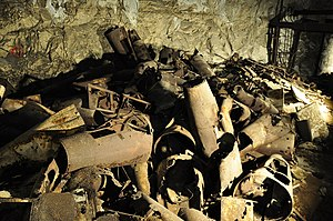 Mittelbau-Dora - Parts of bombs and rockets still litter the underground corridors of the camp (2012)