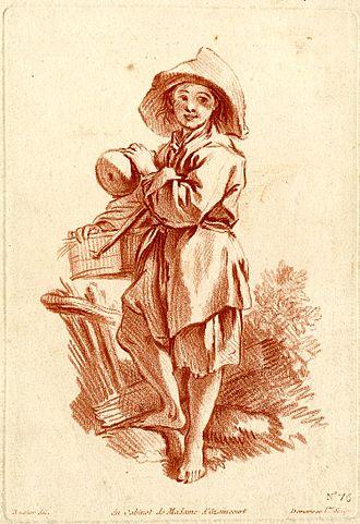 Gilles Demarteau - A peasant boy, after François Boucher