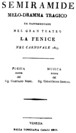 Gioachino Rossini - Semiramide - titlepage of the libretto - Venice 1823.png