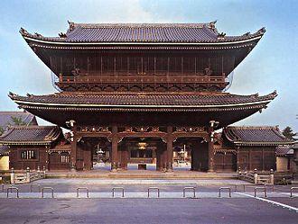 Hongan-ji - Higashi Honganji - Kaisando Gate (Goeidō Mon), built in 1911, 31 m (103 ft) x height 27 m (90 ft), 59,387 roof files