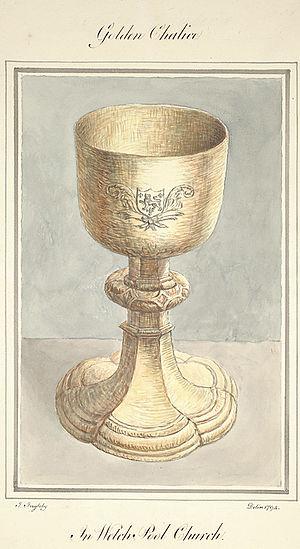 Welshpool - A golden chalice in seen in Welshpool Church, 1794