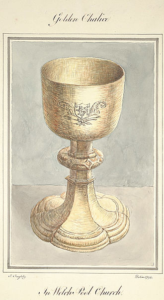 Welshpool - A golden chalice in seen in Welshpool Church, 1794