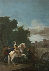 An Officer on horseback and four foot Soldiers