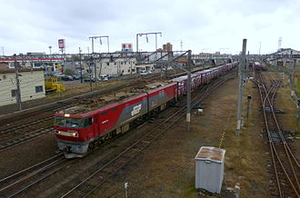 Goryōkaku Station - A freight train departing from the station in October 2013