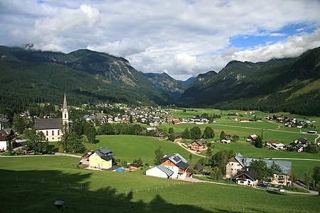 Village Gosau with Protestant church, Upper Austria