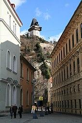 Graz Uhrturm Schloßbergsteig 2012 a.jpg