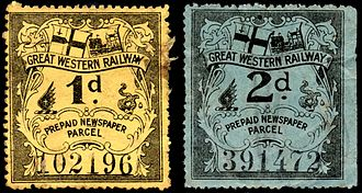 Parcel stamp - British Great Western Railway newspaper parcel stamps. These are regarded as cinderella stamps.