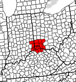 Cincinnati metropolitan area - Image: Greatercincinnaticou nties