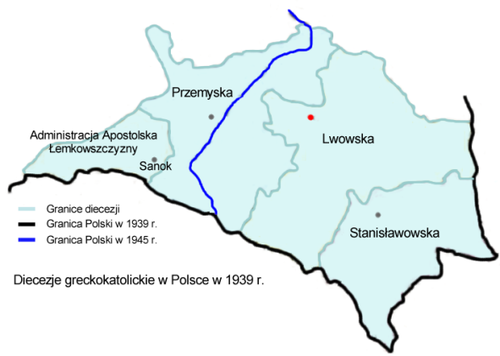 Map of the Ukrainian Catholic Church in the province of Lviv in 1939 Greckokatolicka metropolia lwowska 1939.png