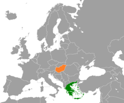 Map indicating locations of Greece and Hungary