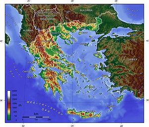 English: Topographic map of Greece. Deutsch: T...