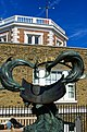 Greenwich - Royal Observatory - Sundial Dolphins 1977 by Christopher St J Daniel - View North.jpg