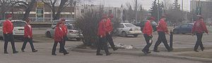 Guardian Angels - In Calgary, Alberta, on March 24, 2007, a group of Guardian Angel trainees did one last training patrol, the day before their expected graduation day.  They toured the East side of the downtown.