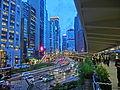 HK Central Connaught Road evening footbridge view Sept-2013.JPG