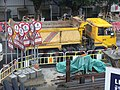 HK Central Man Yiu Street footbridge view construction site yellow truck Dec-2012.JPG