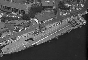 HMAS Melbourne (R21) - Aerial photograph of Melbourne, showing the angled flight deck.