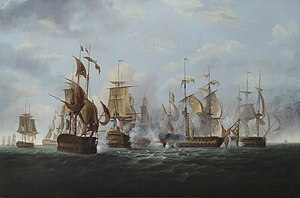 HMS Alexander, Shortly before Striking Her Colours to the French Squadron, 6 November 1794.jpg
