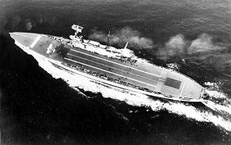 HMS Eagle (1918) - Aerial view of Eagle in 1931, prior to her refit