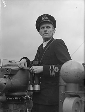 HMS Whimbrel (U29) - Lt Cdr W.J.Moore RNR, first commanding officer of Whimbrel shortly after commissioning at Greenock, 27 January 1943 (IWM A14160)