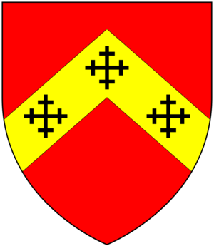 Thomas Luttrell (died 1571) - Arms of Hadley: Gules, on a chevron or three cross-crosslets sable