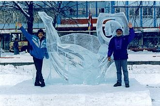 1994 Winter Olympics - Mexican artist Abel Ramírez Águilar with an ice sculpture he created for as part of a competition before the start of the Lillehammer Games