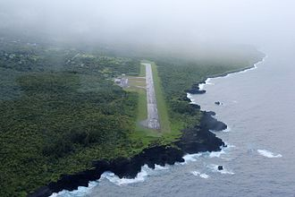 Hana Airport - An aerial view of runway 26 - August 2016.