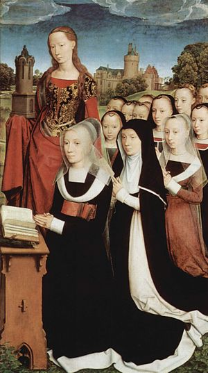 Moreel Triptych - Right panel with Barbara Moreel, daughters, and Saint Barbara