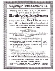 Konzert mit Werken von Beethoven und Pfitzner in Königsberg (1920), Dirigent: Hans Pfitzner (Quelle: Wikimedia)