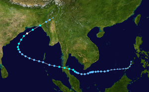 1962 North Indian Ocean cyclone season - Image: Harriet 1962 track