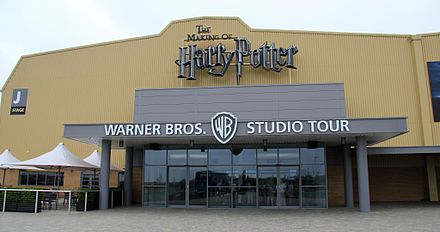 Warner Bros. Studios, Leavesden, where much of the film series was shot. Harry Potter was also filmed in other areas, including Pinewood Studios. Harry Potter Leavesden entrance.jpg