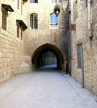 Armenians in Syria - An early 17th century narrow alley in Jdeydeh, leading to the old Armenian quarter of Hokedoun, Aleppo