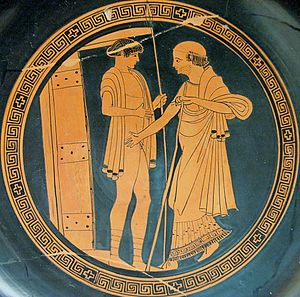 Achilleis (trilogy) - Priam (right) entering the hut of Achilles in his effort to ransom the body of Hector. The figure at left is probably one of Achilles' servant boys. (Attic red-figure kylix of the early fifth century BCE)