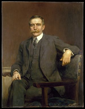 Henry Solomon Wellcome: three-quarter length. Oil painting by Hugh Goldwin Riviere, 1906.