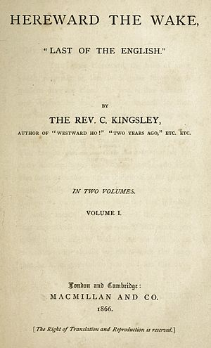 Hereward the Wake - Title page of Kingsley's novel Hereward the Wake.