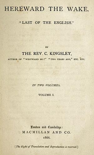 Hereward the Wake - Title page of Kingsley's novel Hereward the Wake.