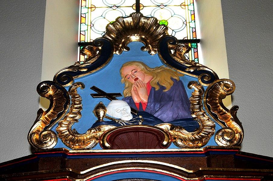 Kartusch um Maria-Magdalena Beichtstull an der Kierch zu Hiefenech.