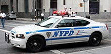 A New York City Police Department cruiser vehicle