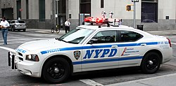 A police car belonging to the New York Police Department