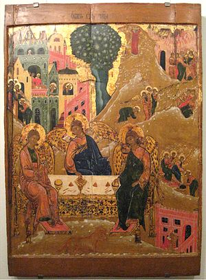 Trinity (Andrei Rublev) - The Old Testament with the Deeds, the 17th century icon. The composition includes a scene of Abraham's meeting the angels, washing their feet, Sarah cooking dough, the servant killing the calf. The angel takes Lot and his daughters out of Sodom, and Lot's wife turns into a pillar of stone, then Lot is depicted with his daughters. There is none of these details in Rublev's icon.