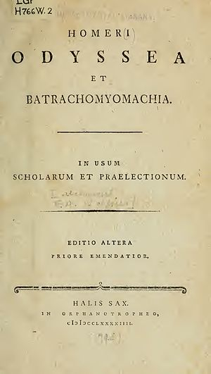 Batrachomyomachia - 1749 Latin edition of Odyssey and Batrachomyomachia