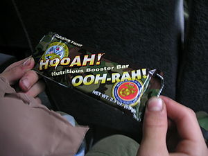 Energy bar - A HOOAH! energy bar provided by the United States Army in its MREs