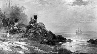 History of Albany, New York (prehistory–1664) - A native looks over New York Harbor to see the arrival of Henry Hudson in 1609.