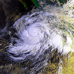 Hurricane Juliette near its peak intensity. Juliette had the lowest atmospheric pressure of a Category 4 hurricane in the Pacific basins, 923 mbar (hPa; 27.26 inHg), tying with Hurricane Olivia in 1994.