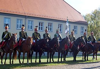 Battle of Ebelsberg - Austrian cavalry kept the French from advancing from the town. These are hussar re-enacters.