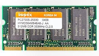 SK Hynix - A 512MB DDR 333 MHz SO-DIMM Hynix memory module