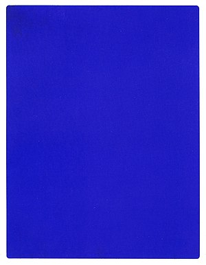 Minimalism (visual arts) - Yves Klein, IKB 191, 1962, Monochrome painting. Klein was a pioneer in the development of Minimal art.