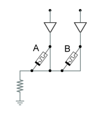 IMPLY gate - IMPLY gate implemented by two memristors