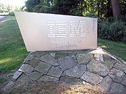 Sign at entrance to IBM's secure headquarters complex in Armonk
